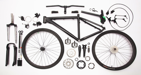 top view still life of bicycle parts, and equipment on the white background Zdjęcie Seryjne - 93633388