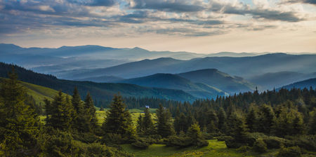 beautiful sunrise in the Carpathian mountains