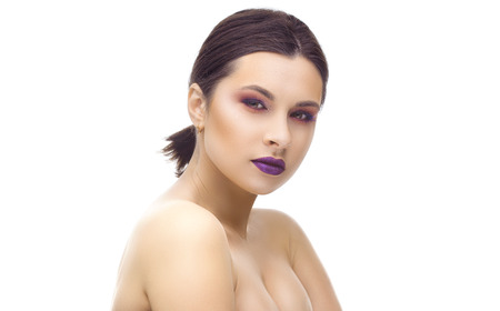 Beautiful woman face studio isolated on the white