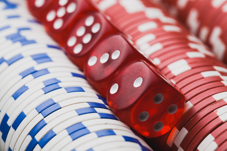 poker chips and dice. macro casino background