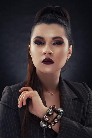 close-up Beautiful woman face studio