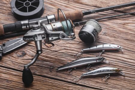 Fishing tackle for catching predatory fish. Wobblers, spinning, reel, fishing line Stok Fotoğraf
