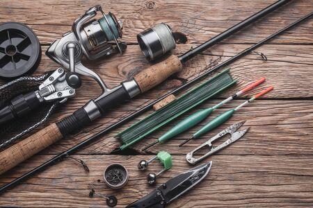 Fishing tackle for fishing peaceful fish. Float, fishing rod, reel, fishing line