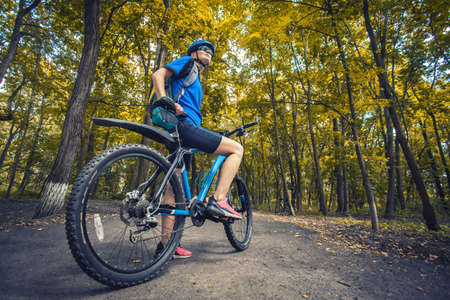 woman cyclist rides mountain bike forest trails. Stockfoto