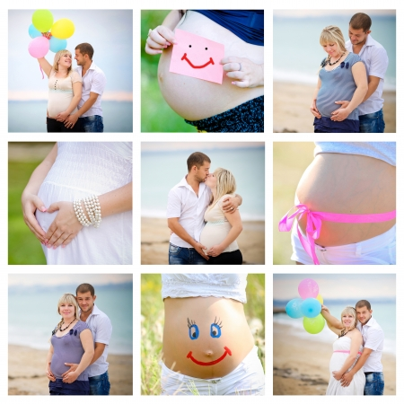 pregnant couple:  collage of pregnant Stock Photo