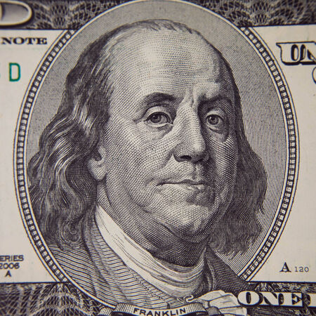 ben franklin: Close-up portrait of Franklin with hundred dollar bills