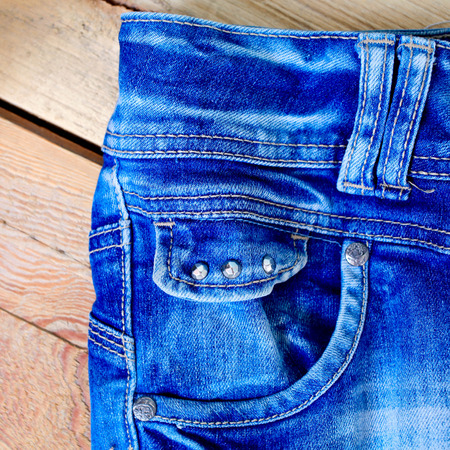 Close-up blue denim with pocket Stock Photo