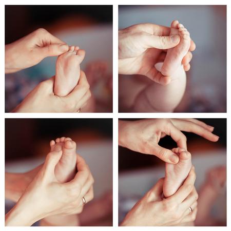 Newborn baby feet collage photo