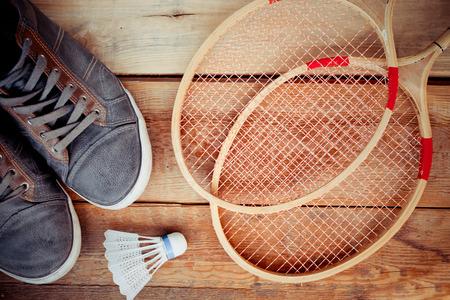 Shuttlecock on badminton racket Stok Fotoğraf