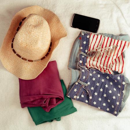 Overhead of essentials of a modern woman. Stok Fotoğraf
