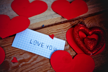 Love Valentine letter  in vintage style photo