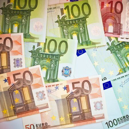 50 dollar bill: European banknotes, Euro currency from Europe, Euros Stock Photo