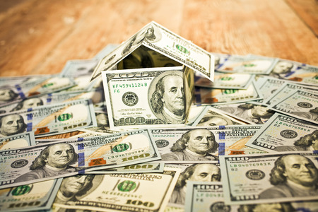 cash money: House Made of Cash Money Stock Photo