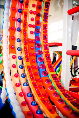 A bunch of multicolored hula hoop in a sports shop photo