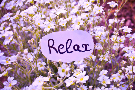 healthfulness: Outdoor greeting card with text - relax