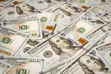 onehundred: Background with new hundred 100 dollar bills Stock Photo