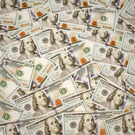 onehundred: Background with new hundred dollar bills Stock Photo