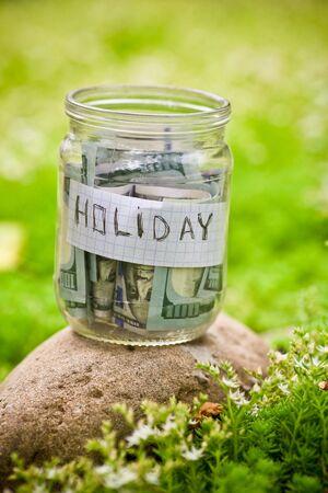 glass jar: Glass jar with dollars
