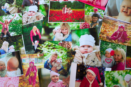 Printed photos background Stock Photo