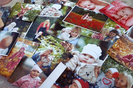 Printed photos background. Stok Fotoğraf