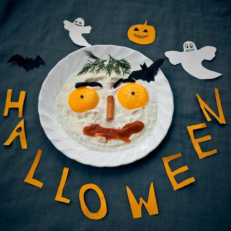 huevos estrellados: Huevos fritos festivas en el estilo de Halloween