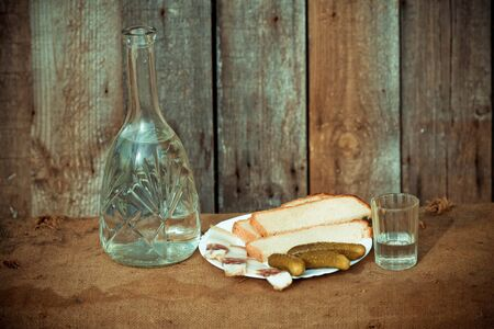decanter: Vodka decanter, and snack (fat, bread and pickle) in the Ukrainian style