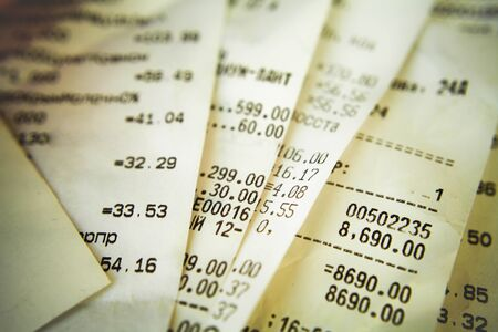 spent: Cash receipt illustrating the spent money Stock Photo