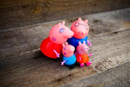 peppy: SEVASTOPOL, RUSSIA - on  APRIL 02,2016: Figure of families pig of Peppy  from Pig Pepa from Astley Baker Davies  Entertainment One UK animations Editorial