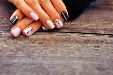 Natural nails, gel polish. Perfect clean manicure with zero cuticle. Nail art design for the fashion style. 스톡 콘텐츠