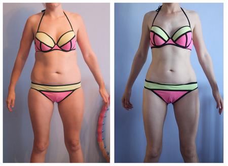 Frauenkörper vor und nach Gewichtsverlust