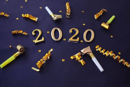 Happy New Year 2020. Symbol from number 2020 on black background.
