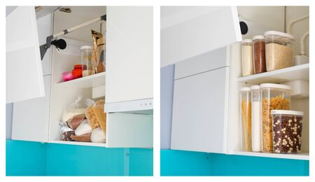 Kitchen cabinet collage before and after organization.