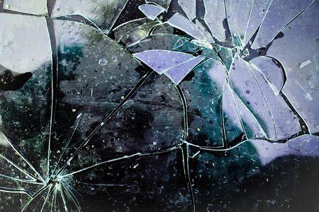 Detail of shattered glass on black background. Texture of broken glass. Stockfoto
