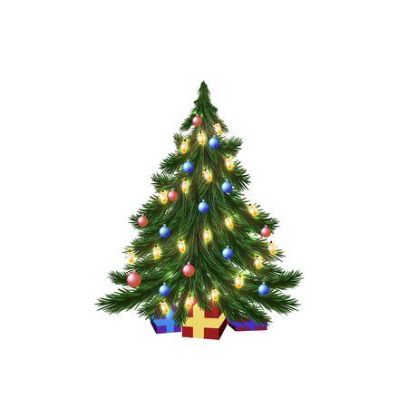 christmas gifts: Christmas tree, garland, balls, gifts