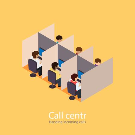 callcenter: Call centr. incoming calls. Incoming line. Isometric flat illustration Illustration