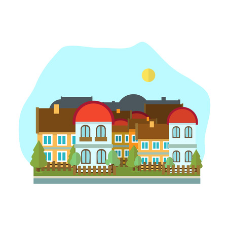 clear day: Flat design urban landscape clear day illustration. Illustration