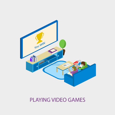 playing video games: Two school kids playing video games together.  Illustration