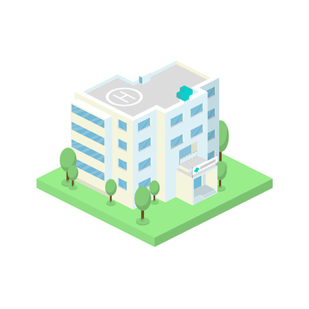 Vector isometric hospital building and landscape with trees.