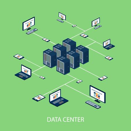 Dane izometryczny zestaw z centrum przetwarzania danych i sieci ilustracji elementy wektorowe