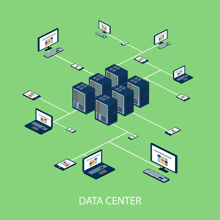 Data isometric set with data center and network elements vector illustration