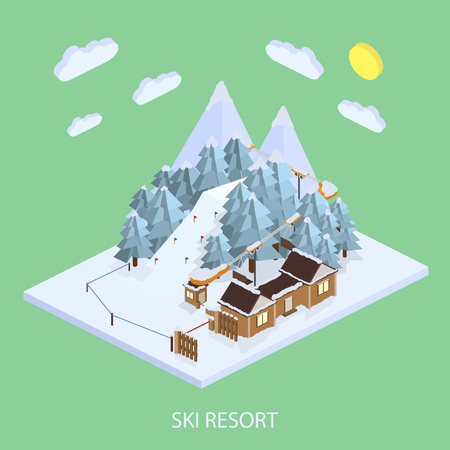 Ski Resort. Mountain landscapes. Vector isometric illustrations. The ski resort in the high snowy