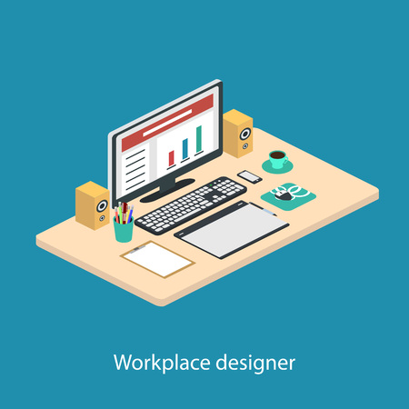 speakers desk: Illustration of modern creative office workplace, workplace with computer. The office of a creative worker.Computer, smartphone, graphic tablet,coffee mug,pencils. Isometric Illustration