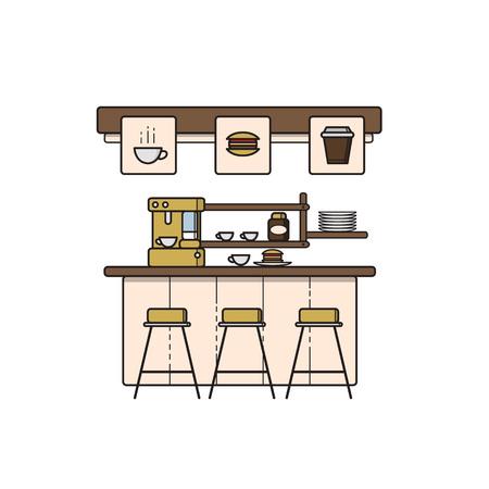 coffee house: Vector line art coffee house interior illustration