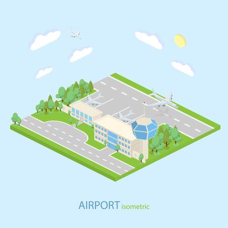 等尺性空港計画ターミナル、公共交通機関で。等尺性。空港の滑走路を持つ建物します。空港の建物。