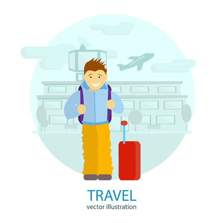 airport cartoon: Travel. A man stands near the airport, waiting for a flight to rest. Vector flat illustration