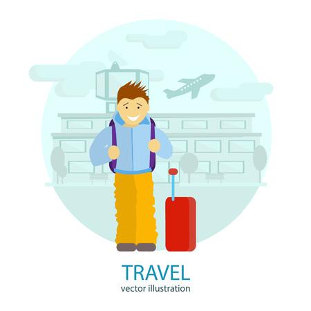 gente aeropuerto: Viajar. Un hombre se encuentra cerca del aeropuerto, a la espera de un vuelo a descansar. Vector ilustración plana Vectores