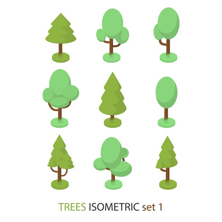 garden city: Isometric vector tree set 1 for create landscapes