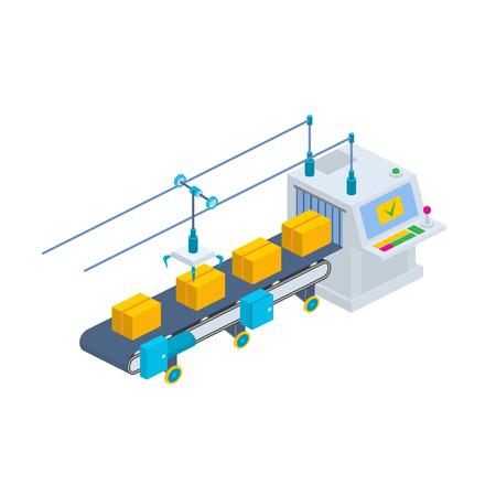 Przenośnik ilustracji wektorowych. Izometryczny linia produkcyjna przemysłowych Opakowanie nowych towarów. Linia produkcyjna z przenośnika taśmowego.