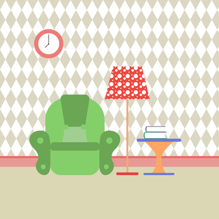 recreation room: reading room and recreation. Vector flat illustration