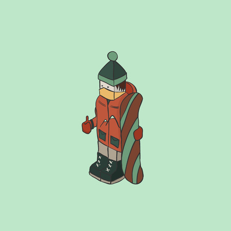 snowboarder: Snowboarder isometric character, vector background color illustration
